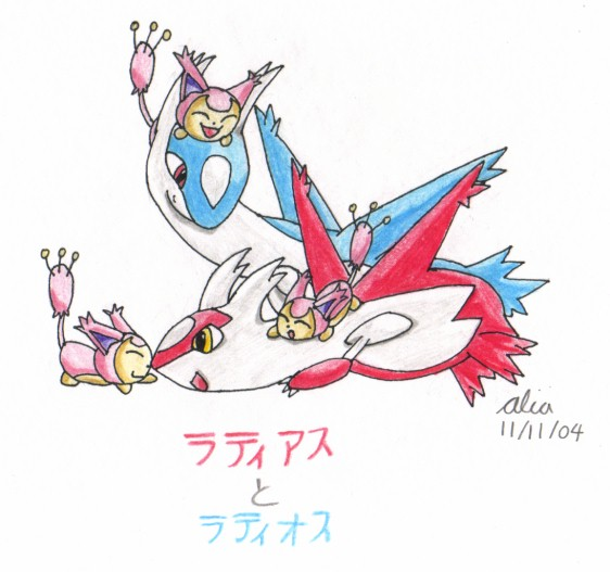 Latias and Latios(with three Skitties ^^)